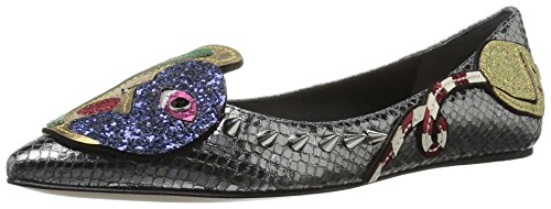 Marc Jacobs Women's Night and Day Ballerina Ballet Flat, Dark Silver/Multi, 36.5 EU/6.5 M US
