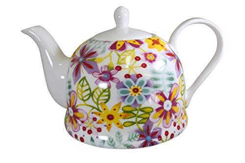 Jameson & Tailor Iglu Teekanne Kaffeekanne grafische Blüten bunt Brillant-Porzellan 1100ml Füllmenge