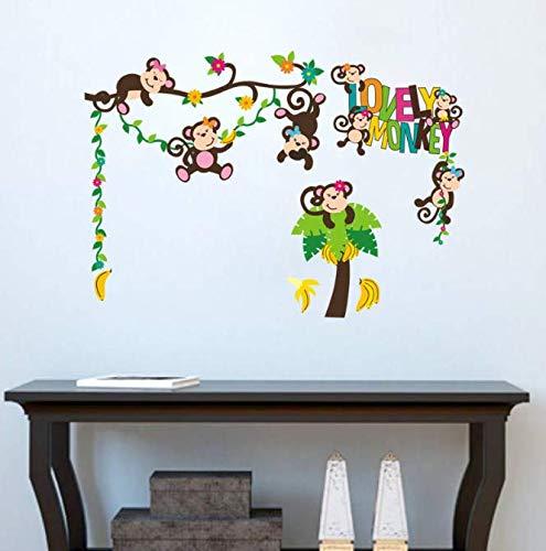 Affespiel auf dem Baumhauptdekor-Wandaufkleber für Kinderkinderzimmer-Tierdekorationsgeschenke für Baby 81 * 57cm