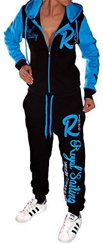 Unbekannt Jaylvis Damen Jogginganzug Trainingsanzug Sportanzug Hose Jacke Hausanzug A.Royal Sailing A.2255 Schwarz-Türkis XS