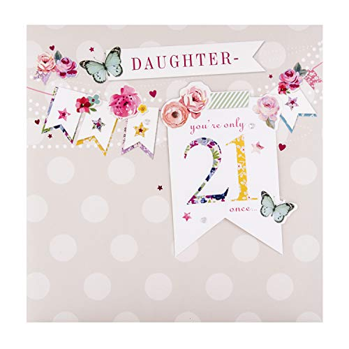 21st Birthday Card for Daughter from Hallmark - 'Bellissima' 3D Bunting Design