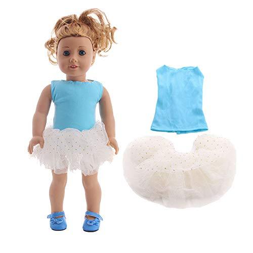 Uteruik Puppenkleidung für 46 cm American Girl Puppe Outfits – Tutu Kleid Rock und Top Kostüm-Zubehör, 2 Stück/Set