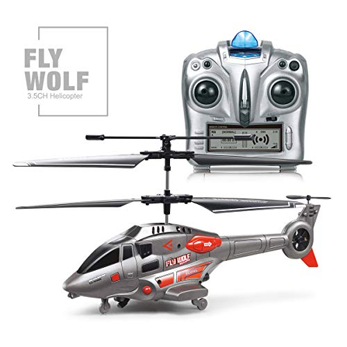 Remote Control Helicopter with Gyro and LED Light,3.5 Channel Mini Helicopter, Remote Control for Kids & Adult Indoor Outdoor RC Helicopter Best Helicopter Toy Gift,Gray