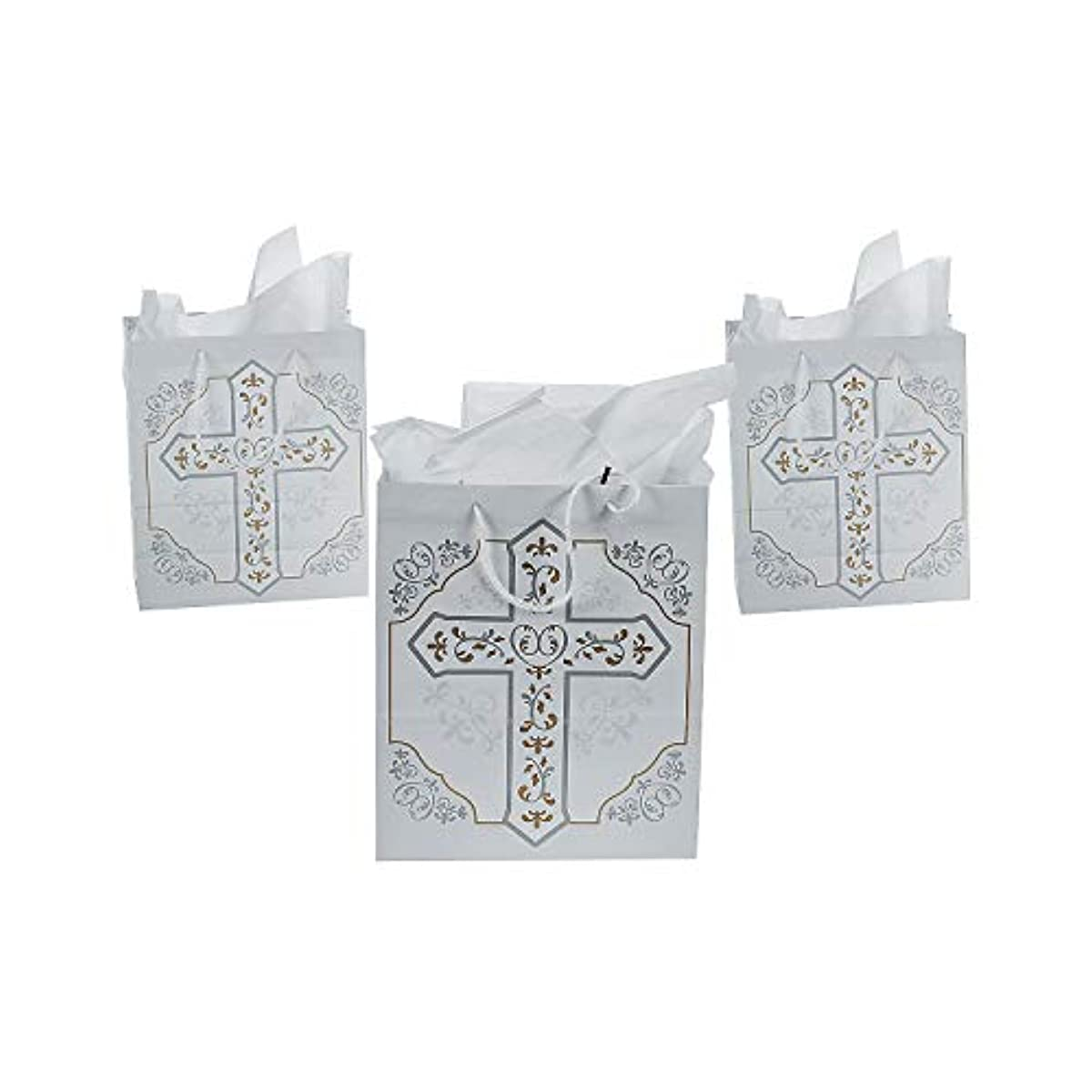 Fun Express - Religious Cross Gift Bags - Party Supplies - Bags - Paper Gift W & Handles - 12 Pieces