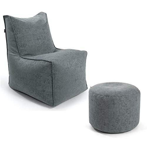 mokebo® Sitzsack-Sessel Innovation 'Der Ruhepol' mit Hocker, als Indoor & Outdoor Bean Bag oder Leichter Relaxsessel, Webstoff in Grau 094