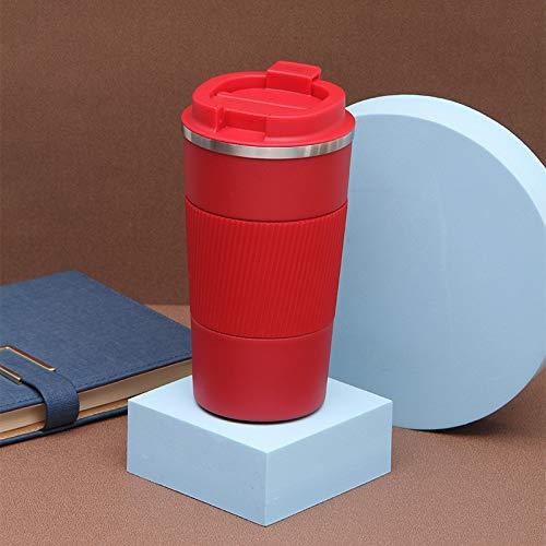 Heliansheng 304 Taza de café de Acero Inoxidable Taza de Coche portátil Taza de Aislamiento al vacío Conveniente -red-380ml-G1064