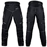 Men's Motorcycle Pants Biker Dual Sport Motorbike Waterproof, Windproof Riding Pants All-Weather, Removable CE Armored (Waist 28' - Inseam 34') Black