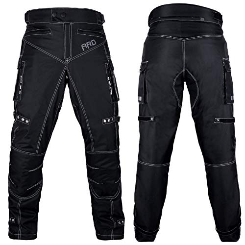 ARD Motorcycle Pants Men Biker Dual Sport Motorbike Waterproof, Windproof Riding Pants All-Weather, Removable CE Armored (Waist 30''- Inseam 34'') Black