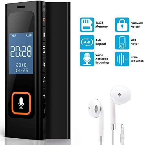 NEXGADGET Digitales Diktiergerät, 16GB Digitaler Voice Recorder, 1536kbps hohe Audio Aufnahmegerät mit Spracherkennung /MP3 /A-B Wiederholung/Rauschunterdrückung, Mini Voice Recorder für Meetings
