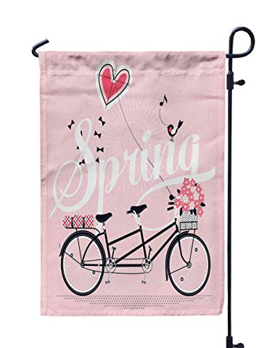 UIJDIAm Floral Mini Garden Flags,Home Yard Decorative 12X18 Inches Lovely Spring in Pink Shades Tandem Bike Ready Ride Picnic Plaid Full Flowers ket Double Sided Seasonal Garden Flags