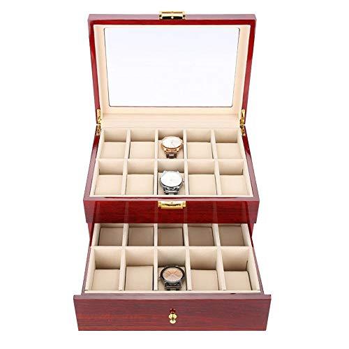 Uhrenbox, 20 Grid Holz Uhr Vitrine Aufbewahrungsbox Organizer Uhr Brillen Display Box für Männer und Frauen für Reisen Oder Schaufensterdekoration Schmuck Kollektion/Dekoration