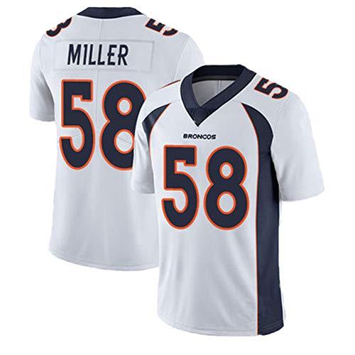 American Football Jersey 58# Miller Broncos Rugby Jersey Kurzarm T-Shirt Home Uniform Team Uniform Bequem Anti-Falten Stickerei Geburtstagsgeschenk XXL weiß