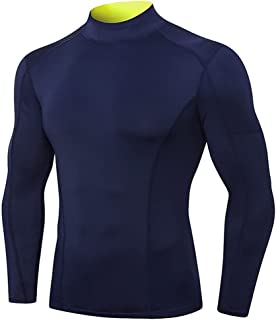 SSMDYLYM Thermal Underwear for Men High Collar Sport Thermo Shirt Quick Dry Compressed Underwear Clothes Men (Color : Blu...