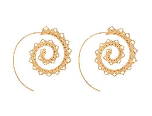 Gluckliy Golden Farbe Runde Spirale Tropfen Ohrringe Übertriebene Liebe Herz Whirlpool Gear Ohrringe für Frauen Schmuck