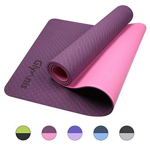 Glymnis Yogamatte Gymnastikmatte aus TPE rutschfest Übungsmatte Fitnessmatte für Yoga Pilates Fitness mit Tragegurt und Reinigungstuch 183 cm x 61 cm x 0,6 cm (Lila-Pink)