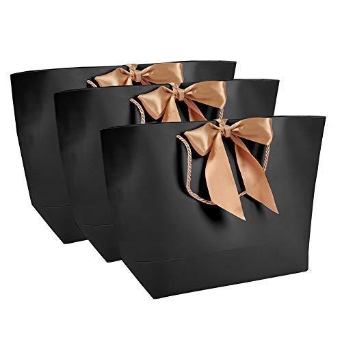 10 piezas bolsas de papel negras de alta calidad, bolsas de regalo de papel, Bolsas de regalo de Navidad Bolsas de papel Bolsas de papel de embalaje Bolsas de papel de regalo(1#)