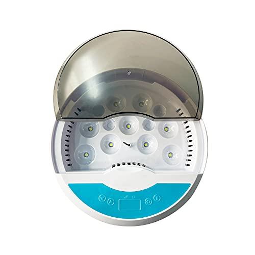 Incubadora de huevos - 9 huevos Incubadora digital de aves de corral Incubadora de huevos de aves de corral con control de temperatura de vela de huevo, para incubar pollo regalo(Enchufe de la UE)