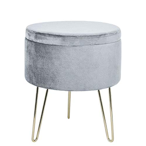 GLOVAL HOME Modern Round Velvet Storage Ottoman Footrest Stool/Seat with Gold Metal Legs & Tray Top Coffee Table,Vanity Stool- (Gray)