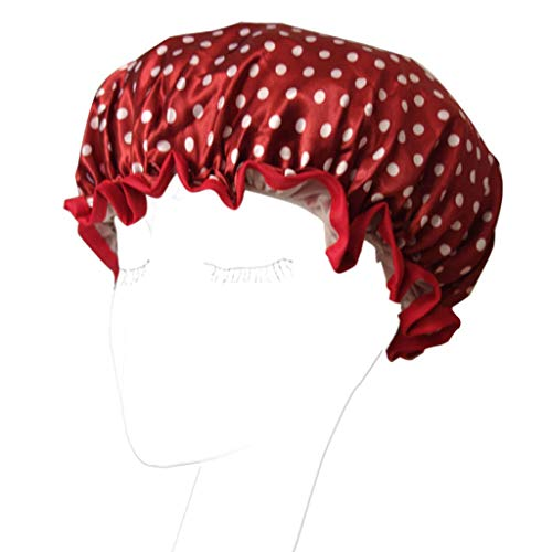 A0127 Bonnet de douche Bonnet de bain élastique femme Bonnet de bain Fleur à pois Bonnet de douche étanche Satin double épaisseur Robinet de sable (Vin rouge)