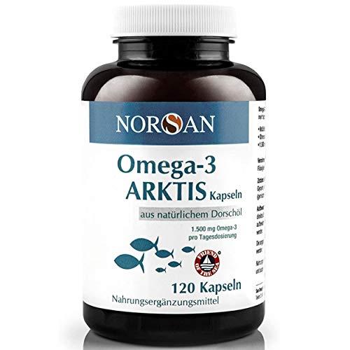 NORSAN Premium Omega 3 Kapseln hochdosiert - 120 Arktis Kapseln, 1.500 mg Tagesdosierung - Von über 2000 Ärzten empfohlen - 100% natürlich, keine künstlichen Konzentrate, kein Aufstoßen