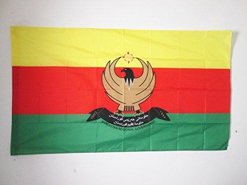 AZ FLAG Flagge ROJAVA 90x60cm - WESTKURDISTAN Fahne 60 x 90 cm Scheide für Mast - flaggen Top Qualität