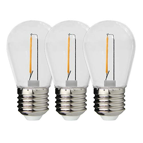 CP3 LED Replacement Bulbs 1W 3 Pack Waterproof E26 Screw Base S14 Led Light Bulbs Warm White 2700K 80LM, Filament Bulbs for Outdoor String Lights Shatterproof