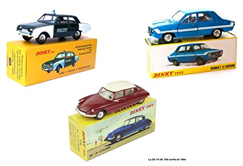 Atlas Batch von 3 Dinky Toys Autos: R12 Gordini + Ford Police Taunus + Citroen DS 19 / Norev (Ref: 1424G + 551 + 519)