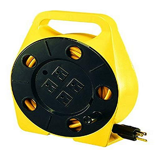 Bayco SL-755 25-Foot Cord Reel with 4 Outlets,Yellow