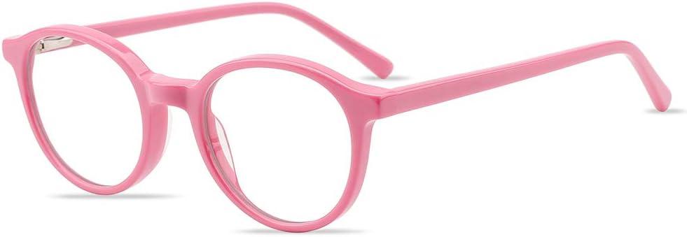 Kids Blue Light Blocking Glasses Girls Boys, Computer TV Gaming Eyeglasses for Children Age 3-8 Anti Glare & Eye Strain & UV Ray Filter (Pink)