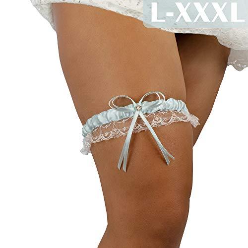 JK Trade BrautStyle® L-XXXL Premium Braut Strumpfband in Blau für Hochzeit, Band verziert mit Spitze, Schleife und einem edlen Herz aus filigranen Strass-Steinen, 100% Handgefertigt (Hellblau)