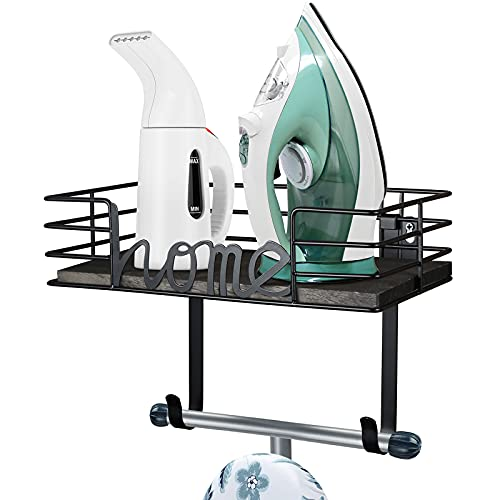 TJ.MOREE Laundry Room Decor-Ironing Board Hanger- Metal Wall Mount Iron and Ironing Board Holder, Laundry Room Organization and Storage with Large Storage Black Wooden Base Basket and Removable Hooks