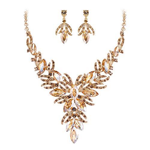 EVER FAITH Damen Schmuckset Kristall Braut Hochzeit Blume Blatt Fligree Y-Form Halskette Ohrringe Set Braun Gold-Ton