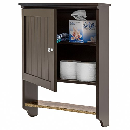 Best Choice Products 19x18in Wooden Wall Mounted Storage Cabinet w/Open Shelf, Versatile Door, Espresso