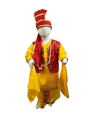 BookMyCostume Punjabi Bhangra Baisakhi Folk Dance Costume for Boys and Men   Yellow & Red 10-12 Years