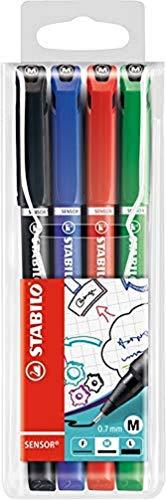 Fineliner mit gefederter Spitze - STABILO SENSOR M - medium - 4er Pack - schwarz, blau, rot, grün