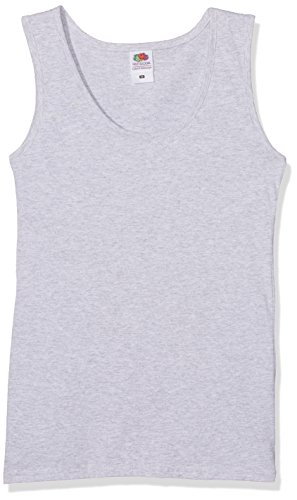 Fruit of the Loom Valueweight, T-Shirt coupe cintrée Col chemise classique Sans manche Femme (Lot de 5) Gris (Heather Grey 94), 42 (Taille Fabricant:Large)