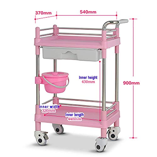 LHF Rack per forniture mediche, carrello ospedaliero, carrello medico per salone di bellezza in ABS con cassetto, carrello con rotelle per spa con secchio di sporcizia, carrello durevole con rotelle