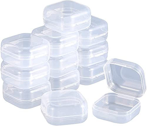 Mini contenitore in plastica,Mini scatola quadrata, in plastica, trasparente, con coperchio incernierato, per perle e altro