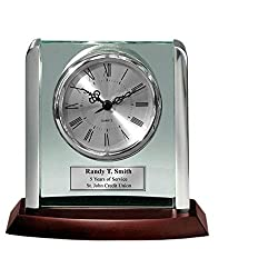 AllGiftFrames Engraved Clock with Silver Post Suspended on Acrylic Silver Engraving Plate Personalized Retirement Wedding Gift Employee Recognition Award Anniversary Service Employee Coworker Retire