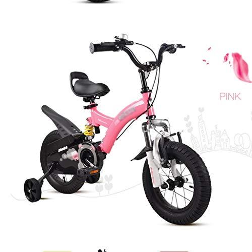 bicicleta Ciclismo de Carretera Doble Freno for niños portátil de 12'14' Scooter Exterior Adecuada for 5~18 años (Color : Pink, Size : 14 Inches)