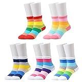 Epeius Girls' 5 Pack Seamless Rainbow Stripes Crew Socks Kids Girls Cotton Dress Socks for 9-12 Years,Shoe Size 1-3.5