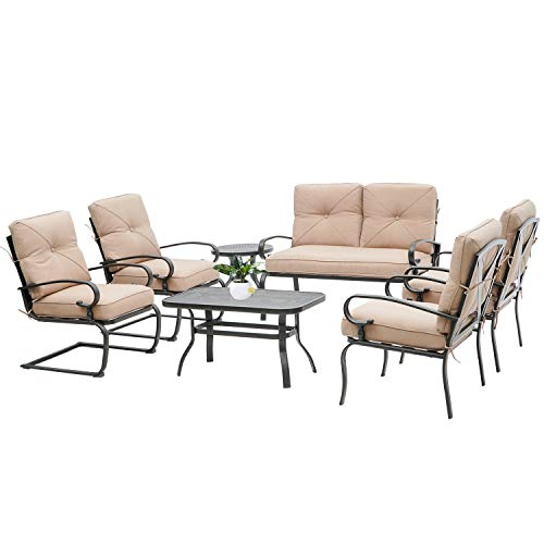 Oakmont 7Pcs Outdoor Metal Furniture Sets Patio Conversation Set Loveseat, 2 Single Chairs, 2 Spring Chairs and Coffee Table, Wrought Iron Look (Brown)