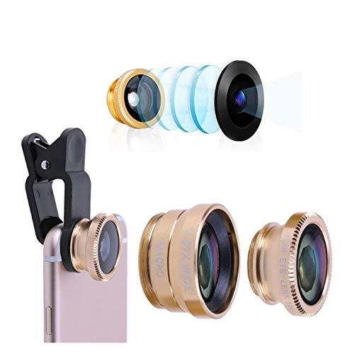 Lente de la cámara 3 en 1 Gran Angular Macro ojo de pez lentes kit de la cámara del teléfono móvil de la lente de ojo de pez for IPhone Smartphone Samsung Huawei Xiaomi OnePlus Cubierta de la lente te