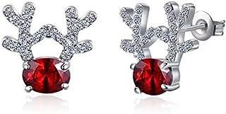 Christmas Stud Earrings Gift Crystal Gemstone Earrings luxury three dimensional Christmas reindeer earrings for Women Girls Kids Teens
