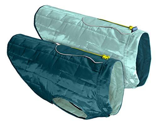 Kurgo Loftmantel für Hunde, reversible, wendbar Winterjacke für Hunde, wasserabweisende Haustierkleidung, reflektierend, leicht, mit einem Geschirr zu tragen – Tinteblau/Seeglass, M