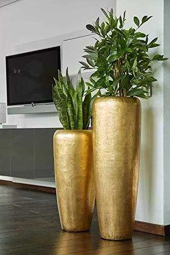 Edle & Hochwertige Pflanzvase / Pflanzkübel - Fiberglas - Mit Einsatz – Indoor – Metallic / Metallisch Blumenkübel / Pflanzgefäß / Vase / Kübel (Medium: 100cm, Gold)