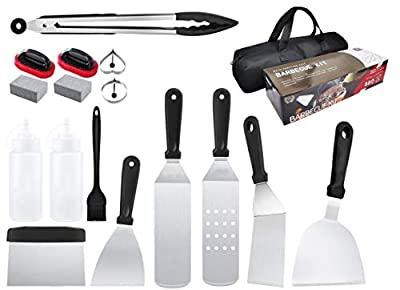 IOKUKI Grill Accessories BBQ Tool Set, 17 Pieces Grill Utensils Set with Grill Cleaning Kit-Great for Outdoor BBQ, Grilling, Teppanyaki and Camping