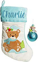 The Christmas Cart Personalised Gifts & Keepsakes Baby Blue Teddy Bear Stocking and Bauble Pack