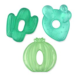 Itzy Ritzy Water-Filled Teethers; Set of 3 Coordinating Cactus Water Teethers; Cutie Coolers are Textured On Both Sides to Massage Sore Gums; Can Be Chilled in Refrigerator; Set of 3 Green Cacti
