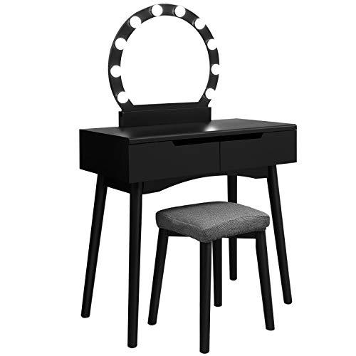 SONGMICS RDT11BL-Tavolo da toeletta con Illuminazione, con Specchio e...